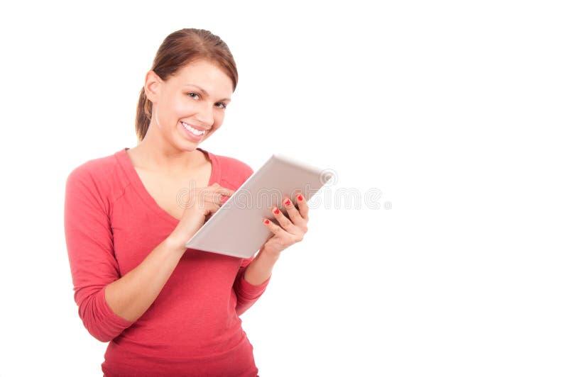 Giovane ragazza dello studente con il pc della compressa fotografia stock