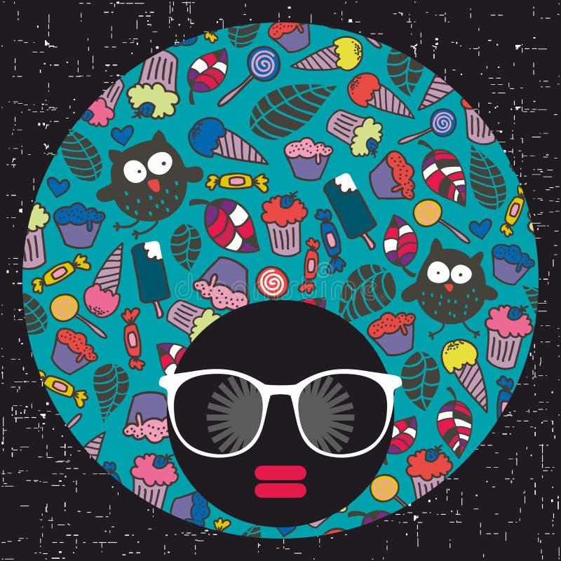 Giovane ragazza di afro con pelle scura e turbante creativo sulla sua testa illustrazione di stock