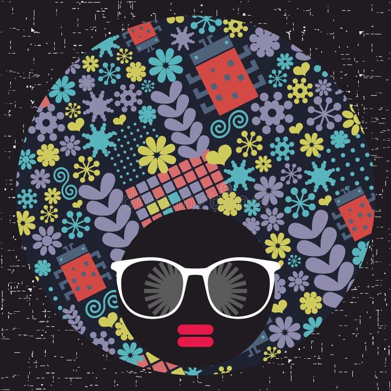 Giovane ragazza di afro con pelle scura e turbante creativo sulla sua testa royalty illustrazione gratis