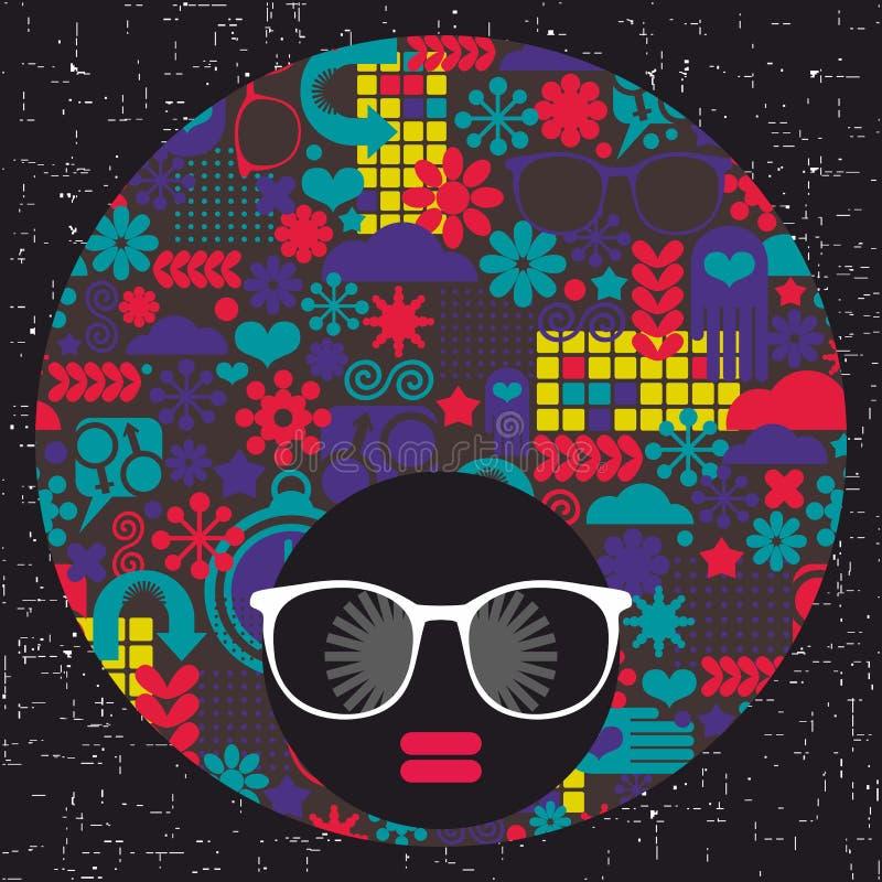 Giovane ragazza di afro con pelle scura e turbante creativo sulla sua testa illustrazione vettoriale