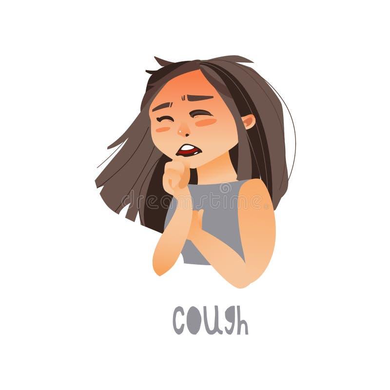 Giovane ragazza malata di vettore che soffre dalla tosse royalty illustrazione gratis