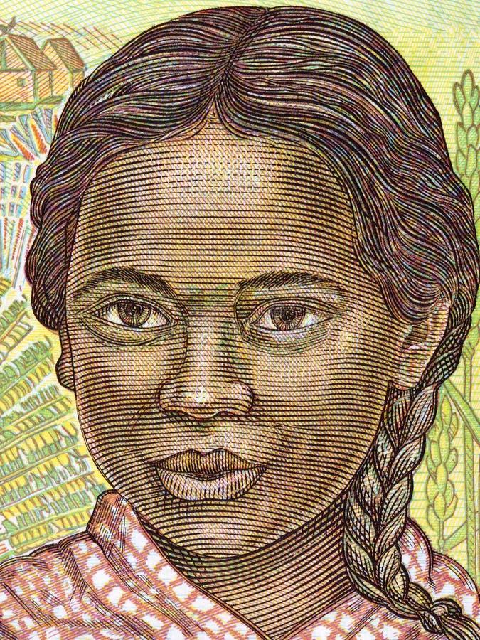 Giovane ragazza malgascia, un ritratto fotografie stock libere da diritti