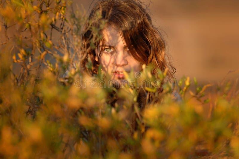 Giovane ragazza nuda splendida sulle montagne fotografia stock