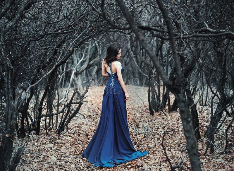 Giovane ragazza sexy in attrezzatura lunga che cammina su una radura della foresta immagini stock