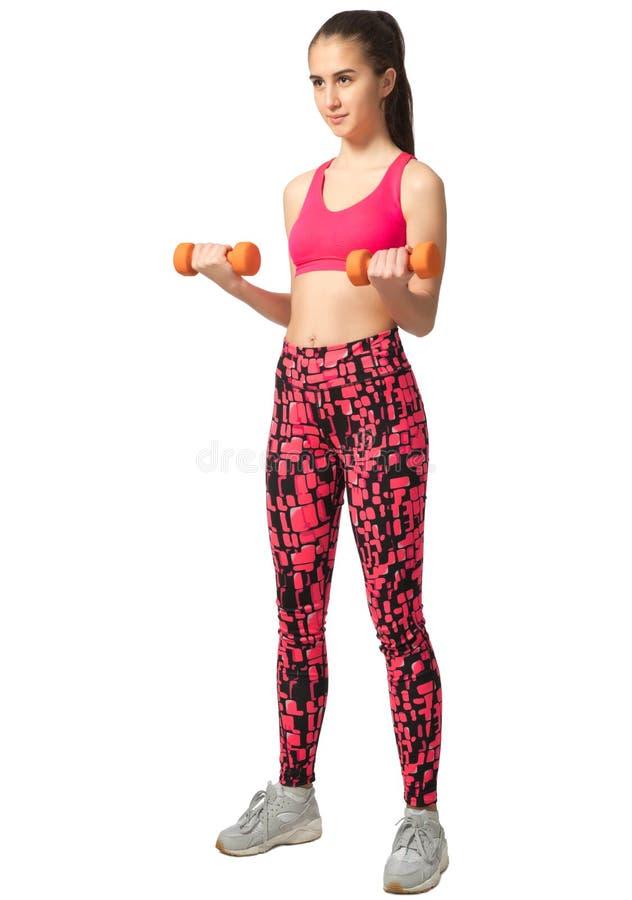 Giovane ragazza sportiva isolata immagini stock