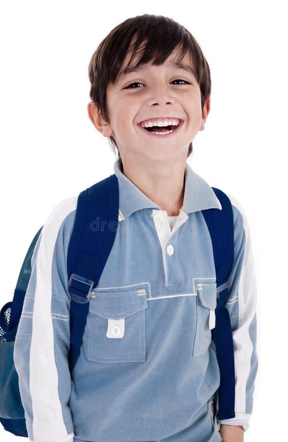 Giovane ragazzino che ride felicemente fotografie stock