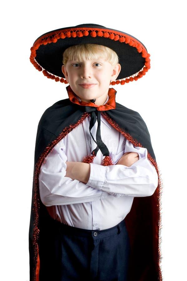 Giovane ragazzo in cappello messicano immagini stock