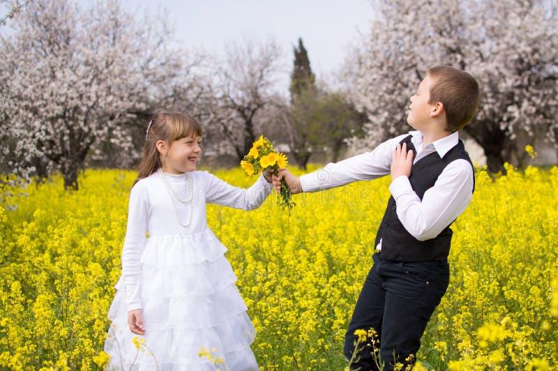 Giovane ragazzo che dà i fiori della ragazza fotografia stock libera da diritti