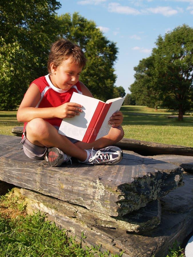 Giovane ragazzo che legge un libro immagini stock libere da diritti