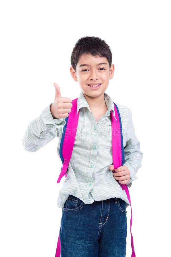 Giovane ragazzo che sorride e che mostra pollice su sopra bianco immagine stock