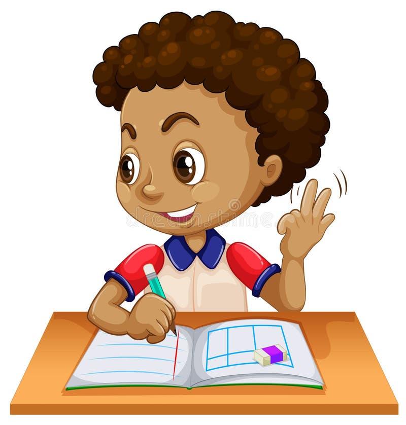 Giovane ragazzo che studia allo scrittorio illustrazione di stock
