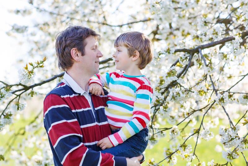 Download Giovane Ragazzo Del Bambino E Del Padre In Giardino Di Fioritura Immagine Stock - Immagine di molla, figlio: 56892865