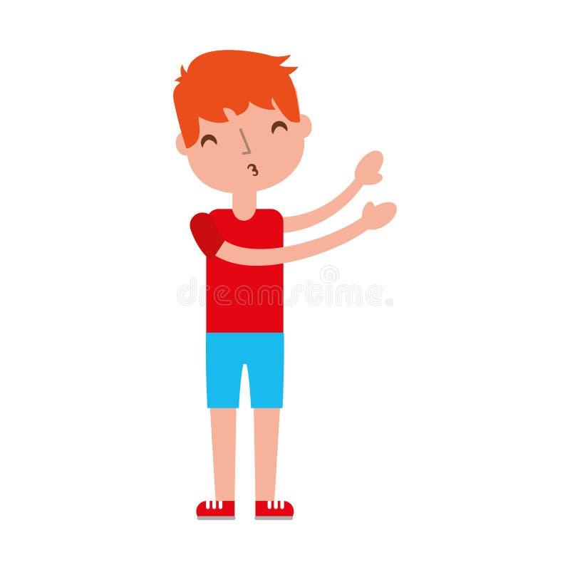 Giovane ragazzo inviato a bacio dell'aria illustrazione vettoriale