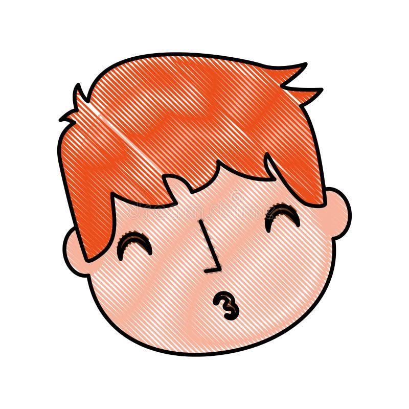 Giovane ragazzo inviato a bacio dell'aria royalty illustrazione gratis
