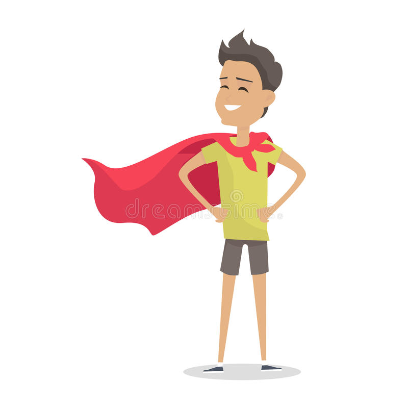 Giovane ragazzo nella posa del superman che porta un mantello rosso illustrazione vettoriale