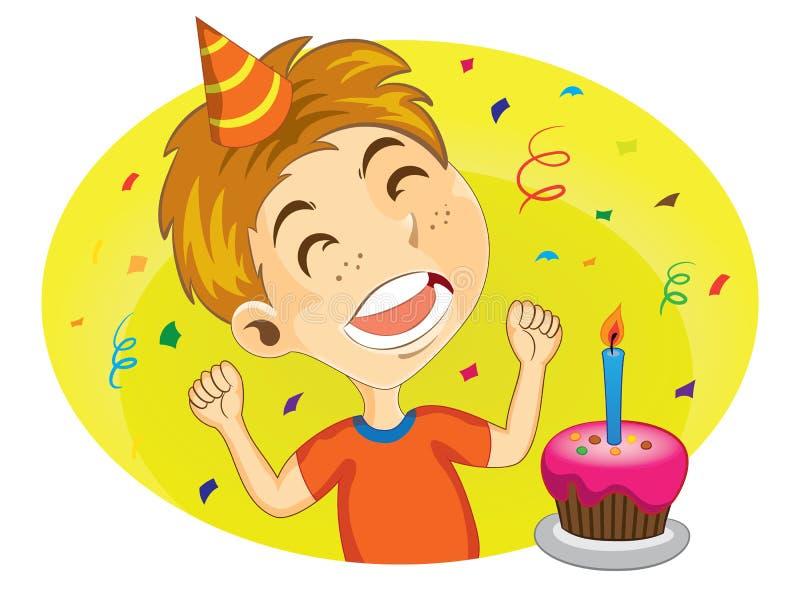 Giovane ragazzo pronto a soffiare la sua torta di compleanno royalty illustrazione gratis