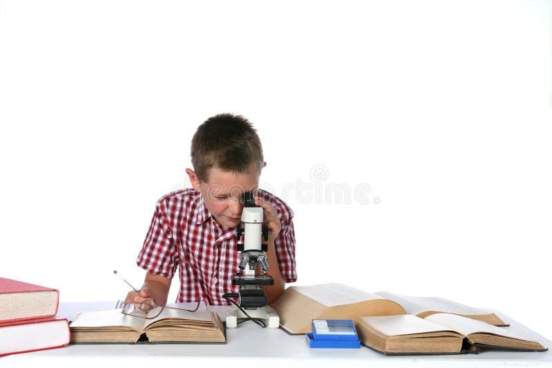 Giovane ragazzo sveglio che osserva tramite un microscopio immagini stock