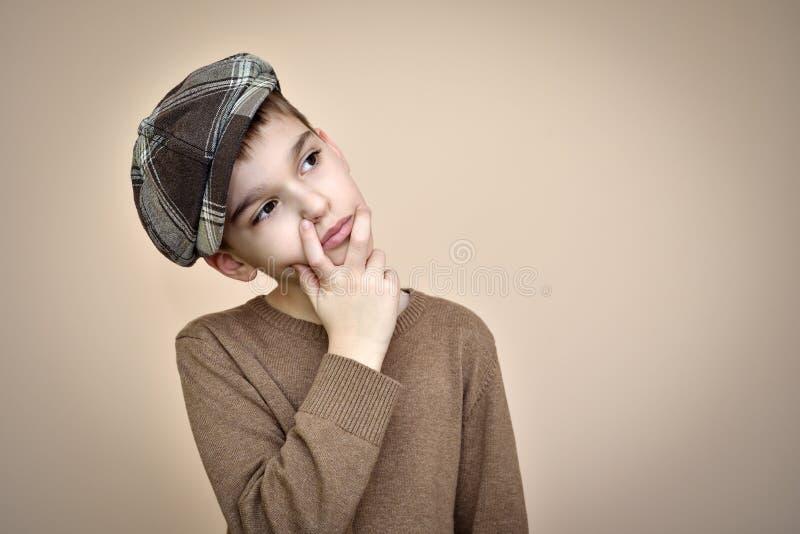 Giovane ragazzo sveglio premuroso con cercare del cappuccio fotografia stock libera da diritti