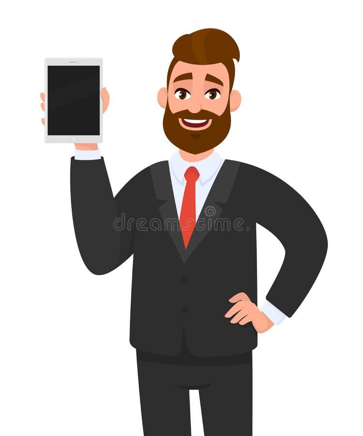 Giovane rappresentazione barbuta felice dell'uomo di affari/tenere schermo in bianco di nuovo visualizzatore del computer della c illustrazione di stock