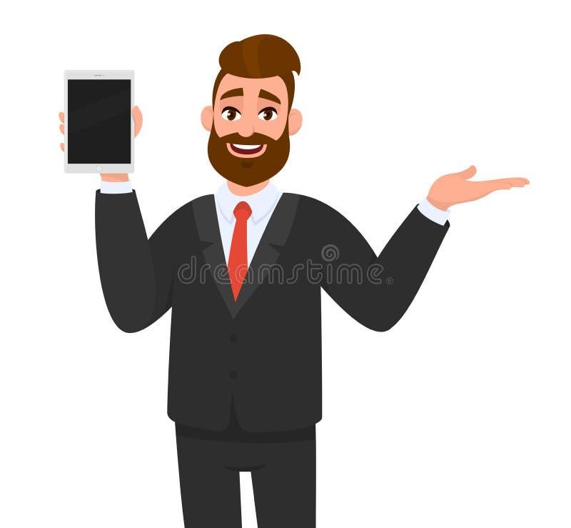 Giovane rappresentazione felice dell'uomo di affari/tenere schermo in bianco del visualizzatore del computer della compressa e pr illustrazione di stock