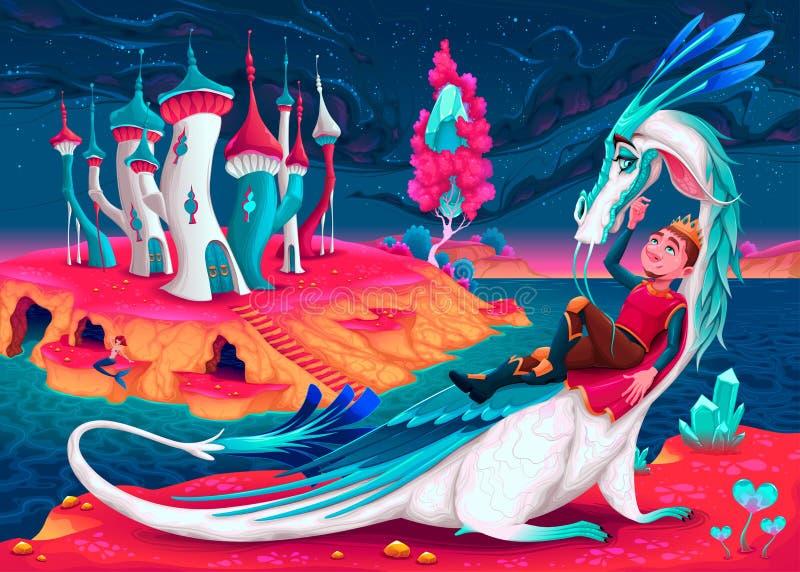 Giovane re con il suo drago in un mondo di fantasia royalty illustrazione gratis