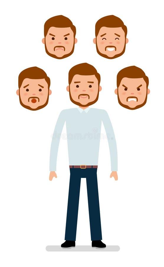 Giovane responsabile in camicia e pantaloni senza un legame, con differenti espressioni facciali royalty illustrazione gratis