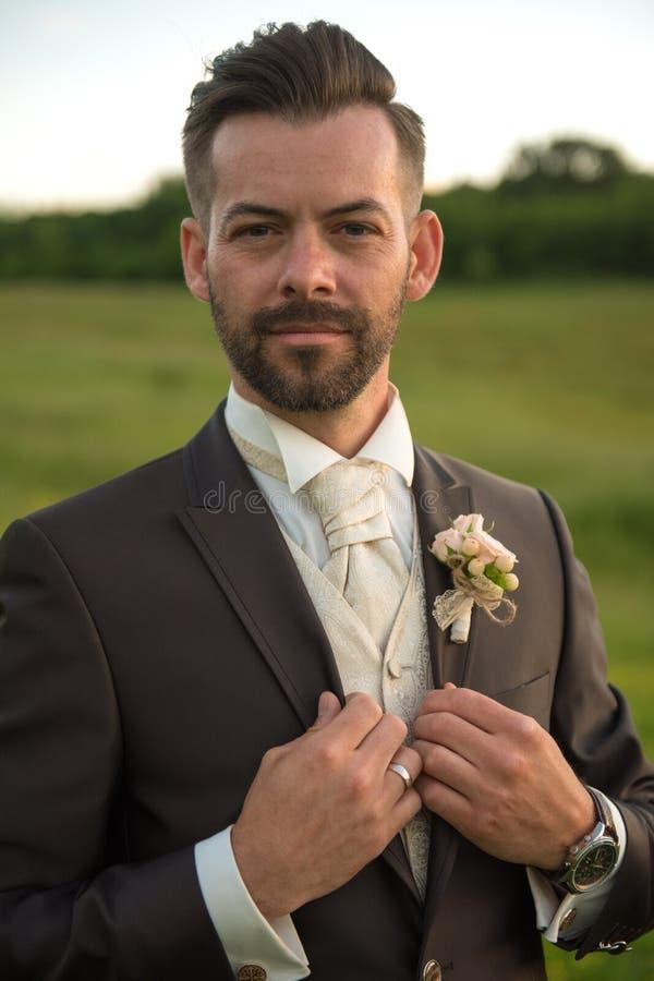 Giovane ritratto bello dello sposo in natura immagini stock
