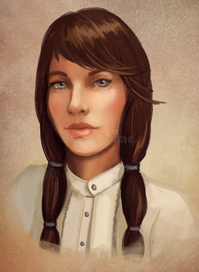 Giovane ritratto della donna del brunette illustrazione di stock