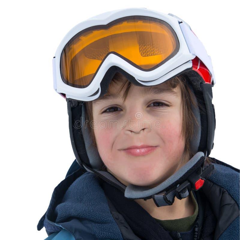 Giovane ritratto felice dello sciatore fotografia stock