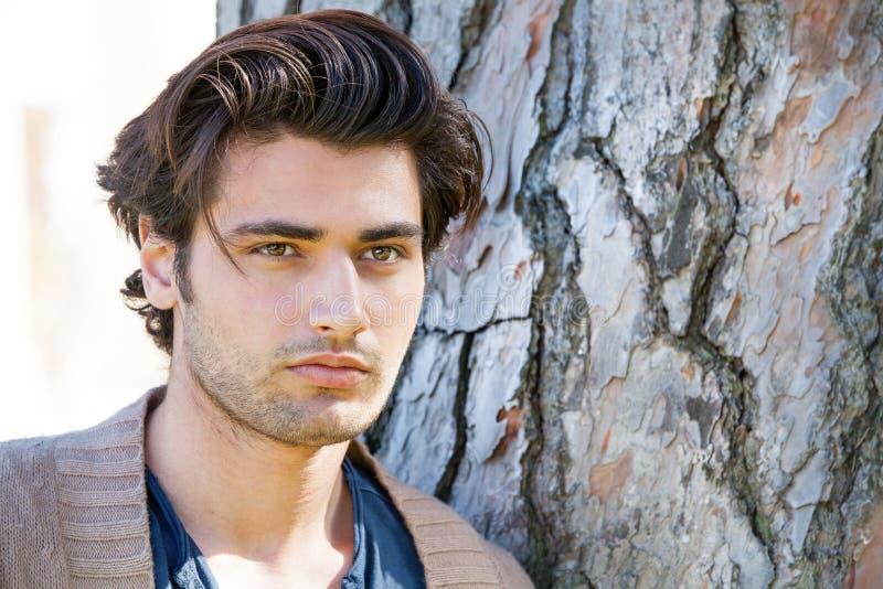 Giovane ritratto italiano bello dell'uomo, capelli alla moda Acconciatura maschio fotografia stock