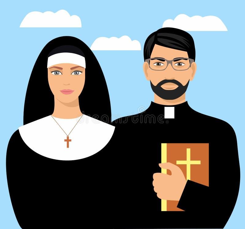 Giovane sacerdote con una bibbia e una suora Illustrazione piana del fumetto di vettore royalty illustrazione gratis