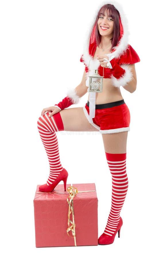 Giovane Santa Claus femminile attraente sexy fotografia stock libera da diritti