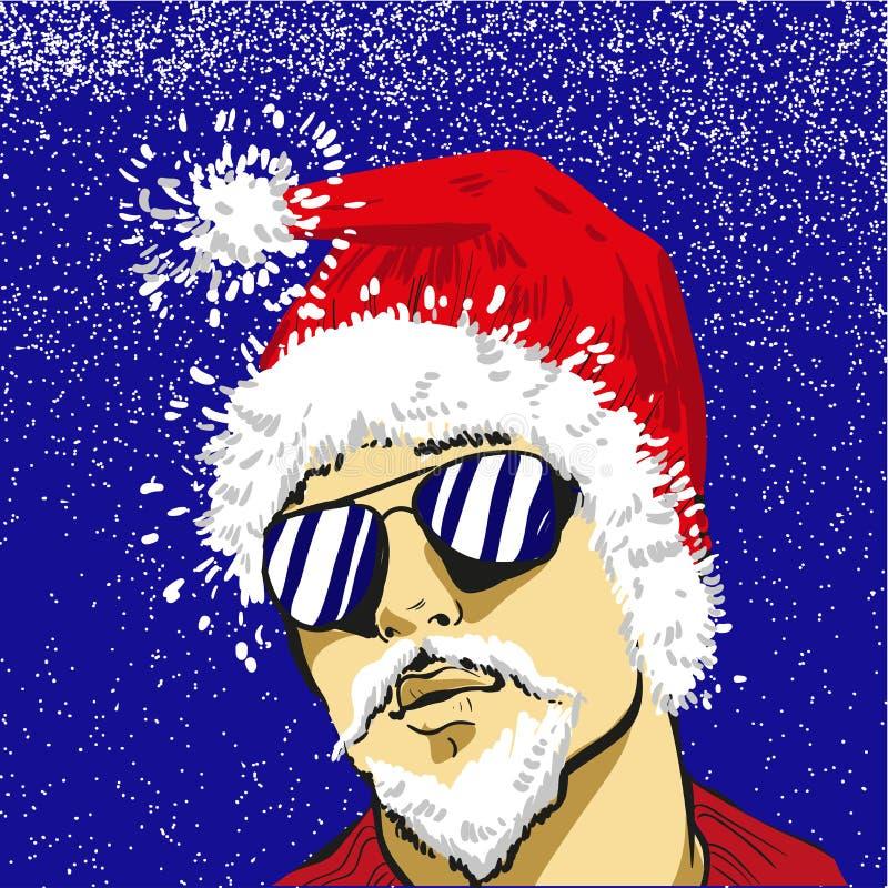 Giovane Santa Claus in vetri di sole vector Cristo, a titolo dimostrativo royalty illustrazione gratis