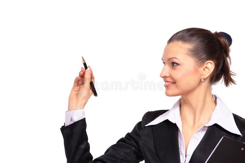 Giovane scrittura della donna di affari immagini stock