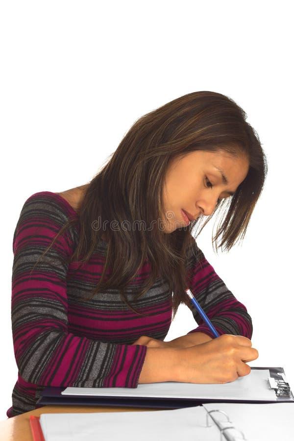 Giovane scrittura peruviana della donna immagine stock