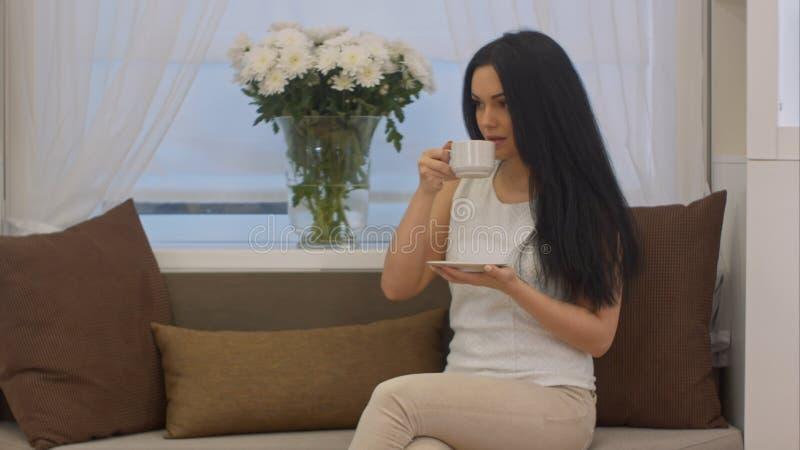 Giovane seduta castana sul tè bevente del sofà dalla tazza in un ufficio immagine stock