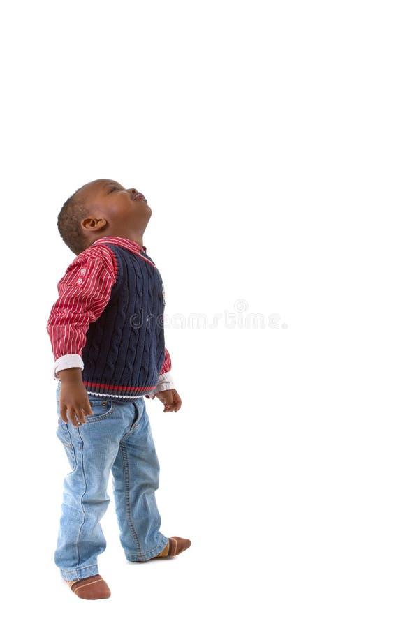 Giovane sguardo nero sveglio del ragazzo fotografia stock