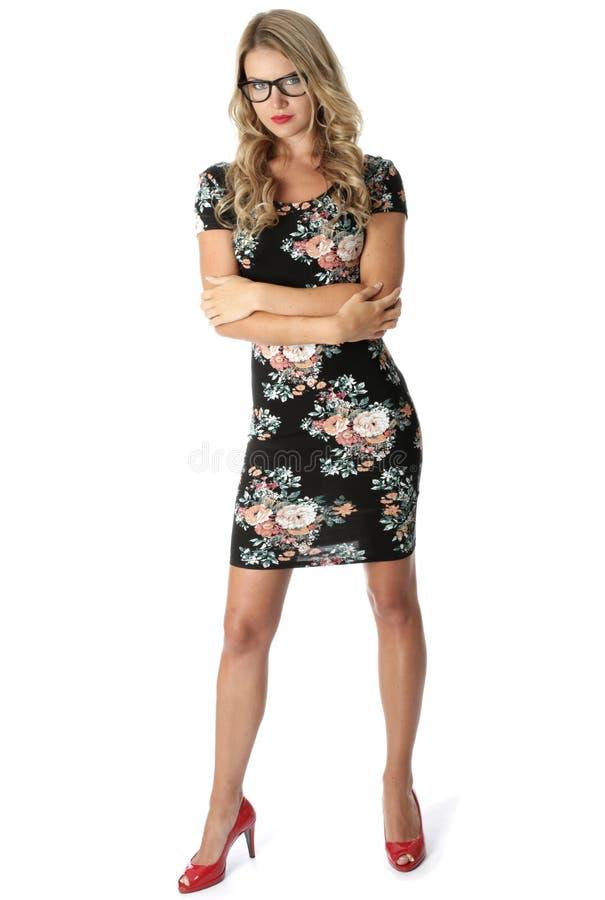 Giovane short Mini Dress della donna di affari immagine stock libera da diritti