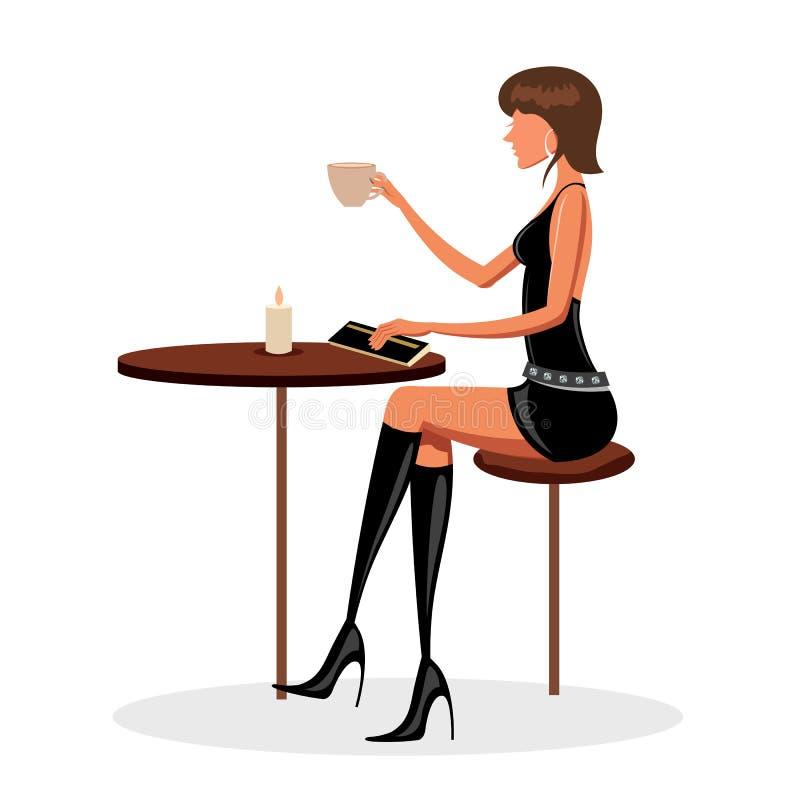 Giovane signora in caffè illustrazione vettoriale