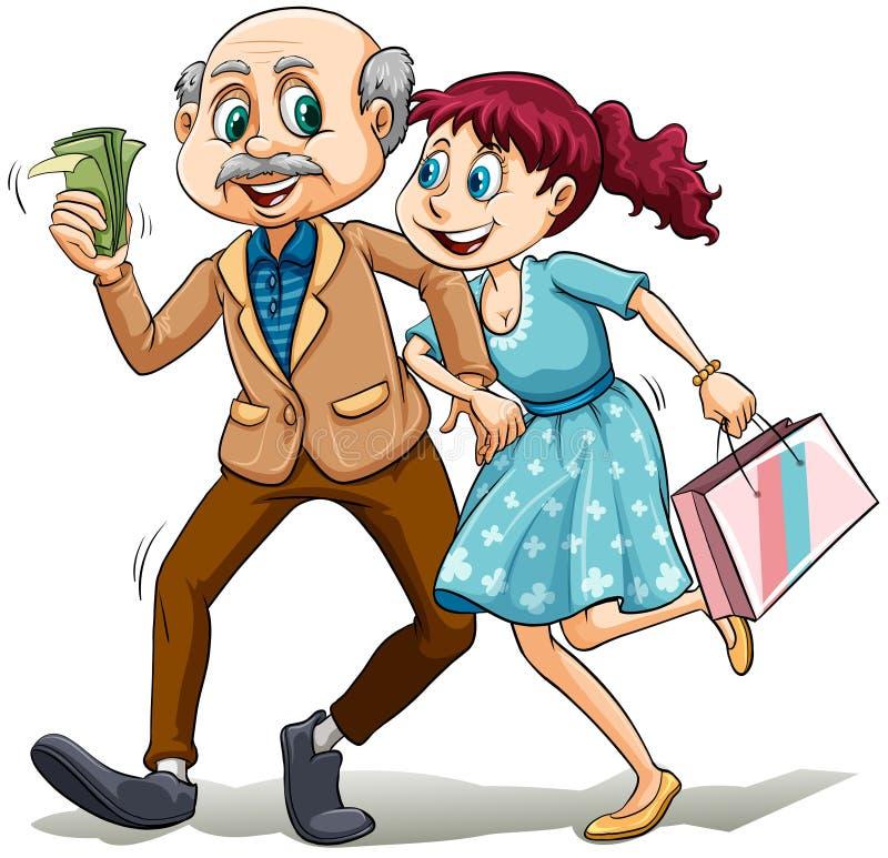 Giovane signora con il suo papà di zucchero illustrazione vettoriale