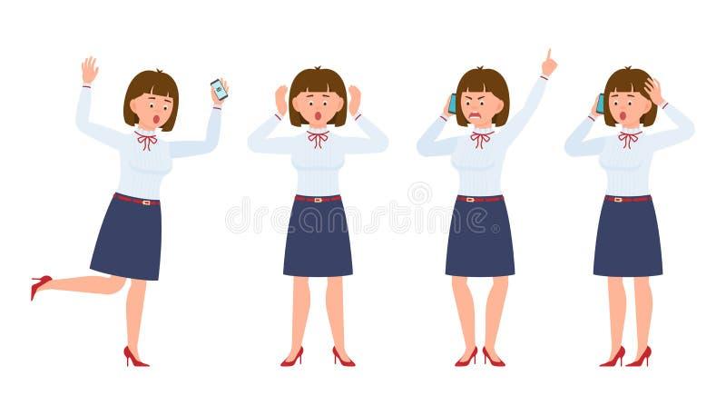 Giovane signora dell'impiegato di concetto che corre nella scossa, gridando, sorpreso, stupito, chiamando, parlando illustrazione di stock
