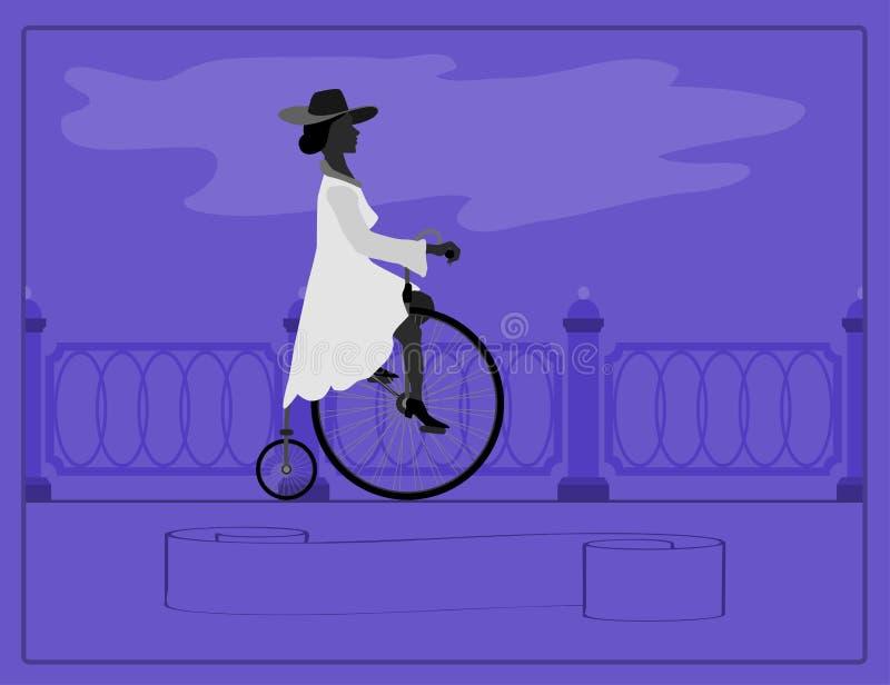 Giovane signora e retro bici illustrazione di stock