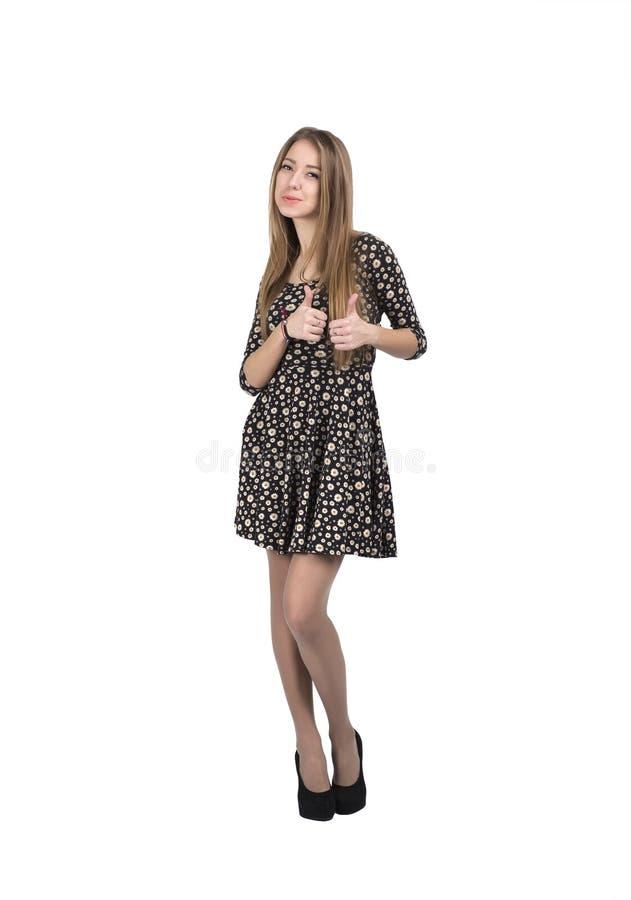Giovane signora sorridente felice con il segno giusto della mano immagini stock libere da diritti