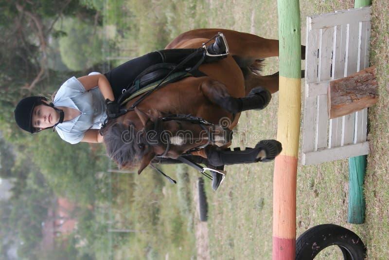 Giovane signora sul salto del cavallino fotografia stock