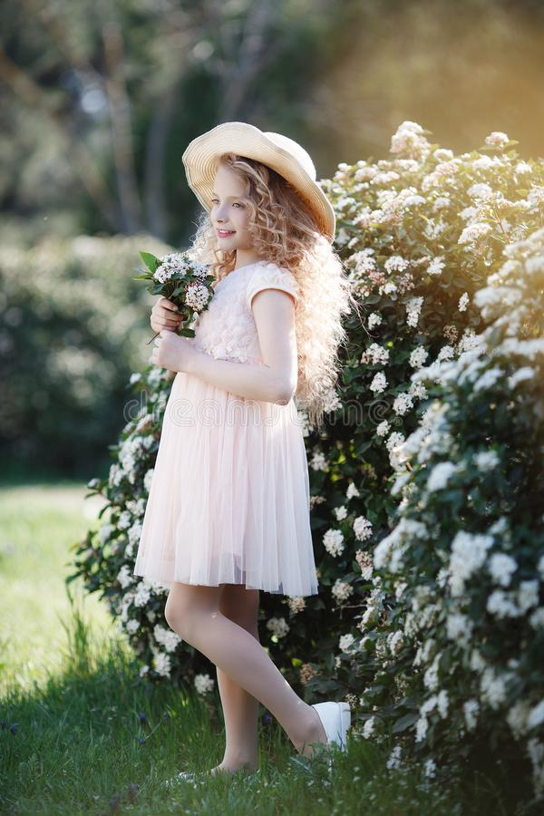 Giovane signora in un cappello di paglia su un prato inglese della molla fra i cespugli di fioritura immagine stock