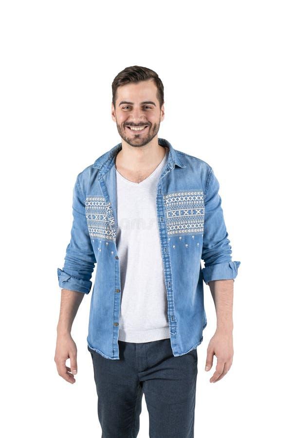 Giovane sorridente in abbigliamento casual, isolato immagini stock