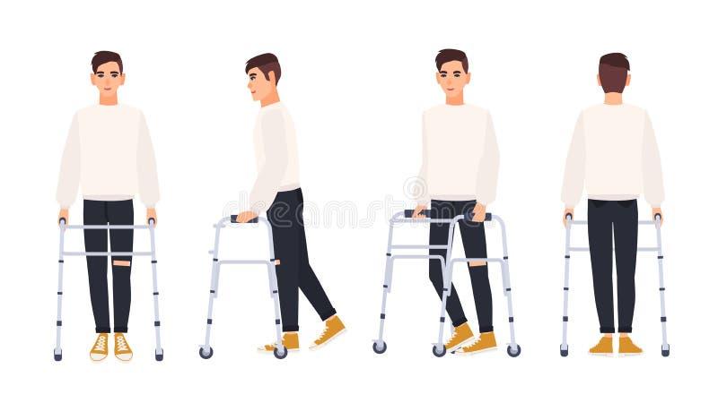 Giovane sorridente con la struttura di camminata o camminatore isolato su fondo bianco Carattere maschio con l'inabilità fisica o royalty illustrazione gratis