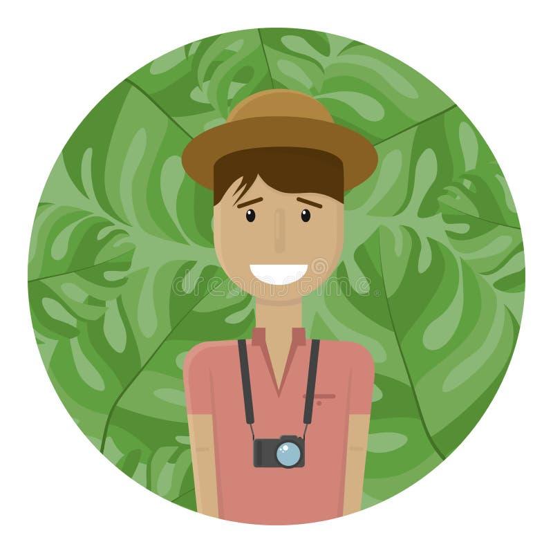 Giovane sorridente in un polo ed in un cappello Brunette Viaggiatore con la sua macchina fotografica sui precedenti di foglia di  illustrazione vettoriale