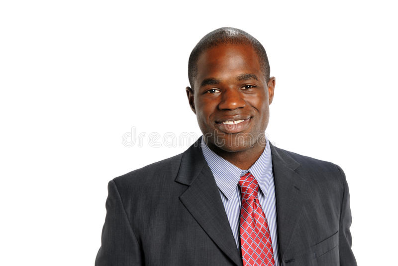 Giovane sorridere dell'uomo d'affari dell'afroamericano fotografia stock