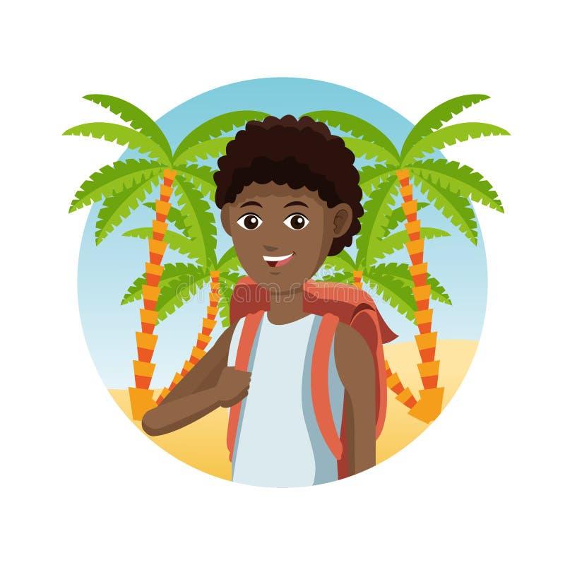 Giovane spiaggia di sabbia della palma del viaggiatore di afro del tipo royalty illustrazione gratis